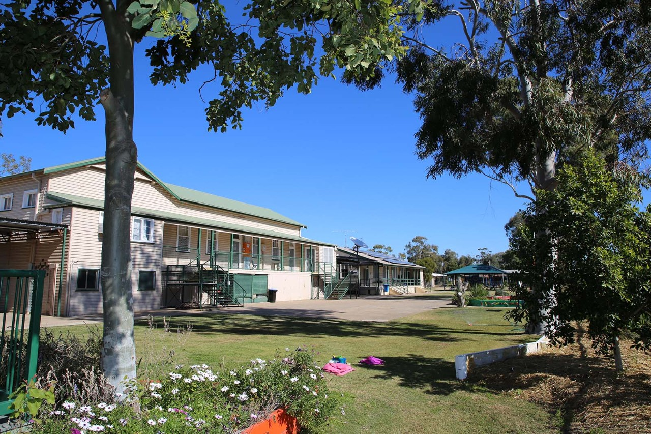 Front of Mungindi Central School  showing original buildings